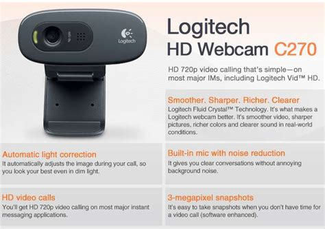 logitech 960 000694 hd webcam c270 720p 3 megapixels