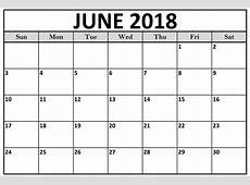 Junio de 2018 Calendario español con vacaciones Plantilla