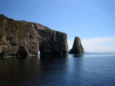 perce rock and landscape in quebec canada image free