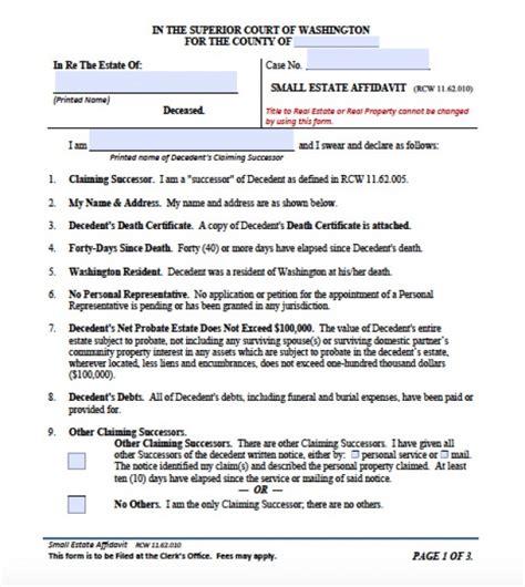 free small estate affidavit form north carolina free washington state small estate affidavit form small