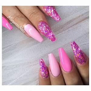Pink glitter coffin nails   MargaritasNailz   Pinterest ...