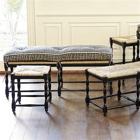 farmhouse 3 seat bench cushion white twill
