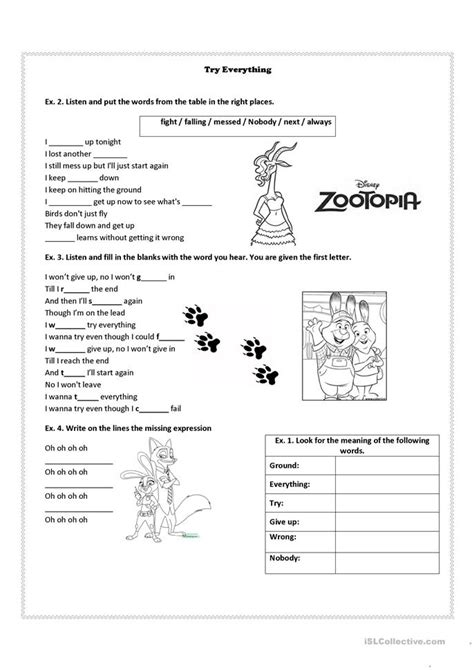 zootopia song try everything worksheet free esl