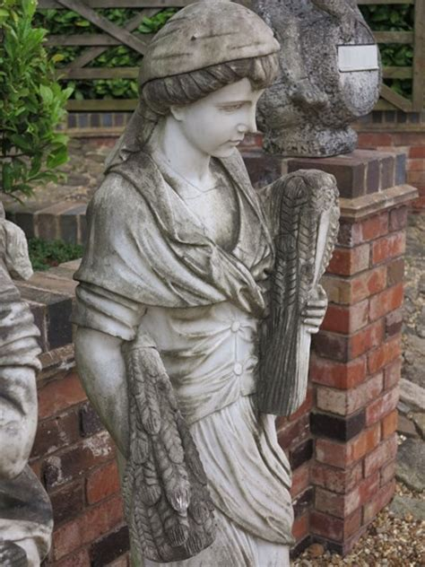 Solid Marble Hand Carved Garden Statue of Autumn