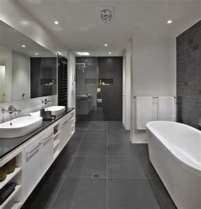 bathroom floor to roof charcoal tiles with a black With black and grey bathroom ideas