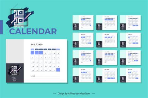 calendar templates modern abstract black white decor vector