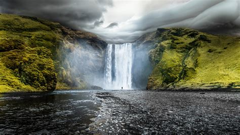 skogafoss waterfalls iceland wallpapers hd wallpapers