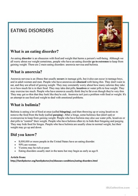 esl anorexia worksheets