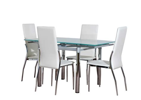 4 chair table set glass dining table furniture and 4 cream chairs set ebay