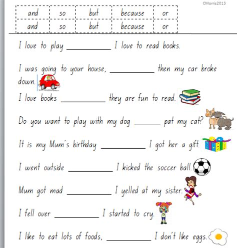 conjunction worksheet for year 3 conjunctions free