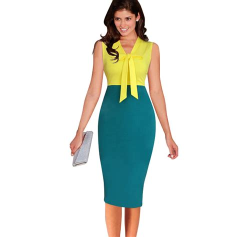 new bow collar pencil dress sleeveless bowknot patchwork dot business office