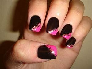 Nail Designs: Black And Pink Nail Art Design Ideas, black ...