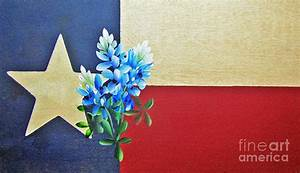 Texas Flag With Bluebonnets Painting by Jimmie Bartlett