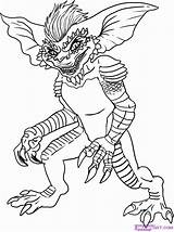 Gremlins Coloring Easy Draw Stripe Step sketch template