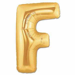 Letter F Gold Giant Foil Balloon 40 Inch Inflated