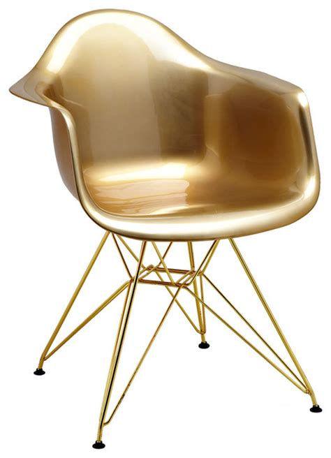 mid century gold arm chair with gold wire base set of 5