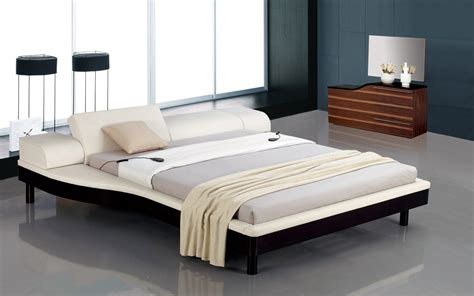 Bed With White Nightstands by Portofino White Adjustable Leather Bed With Built In