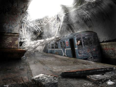 Post Apocalyptic Wallpapers 1920x1080 Post Apocalyptic Trains Subway Train Stations Sunlight Digital Art Vehicles Broken Glass
