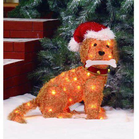 outdoor lighted santa fluffy puppy dog sculpture