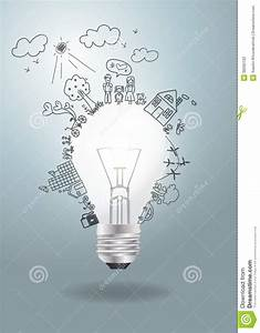Vector Light Bulb Idea With Creative Drawing Ecolo Stock