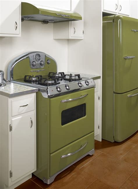 avacodo green stove white cabinets grey counter tops furnishings