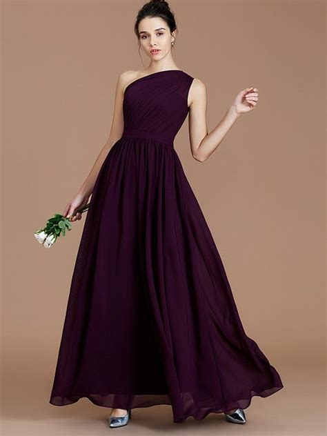 A-Line/Princess One-Shoulder Sleeveless Ruched Floor ...