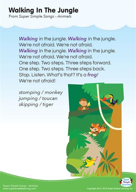 animal songs for preschool walking in the jungle lyrics poster simple 95968