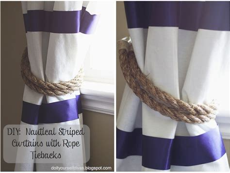 No Sew Striped Curtains With