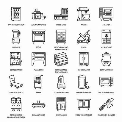 Kitchen Commercial Clip Equipment Restaurant Icons Vector