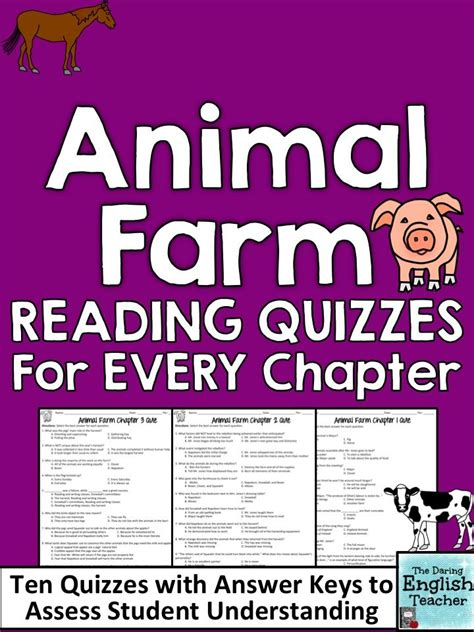 Animal Farm Resume By Chapters by Animal Farm Chapter Quizzes For The Entire Novel Comprehension Reading Comprehension Skills