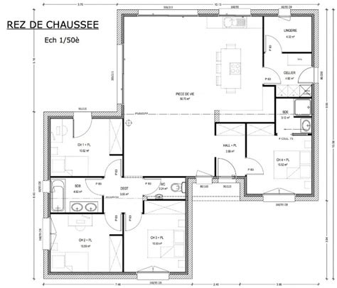 plan maison 100m2 4 chambres plan maison 4 chambres 130m2