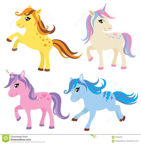 unicorn pony horse vector illustration colorful