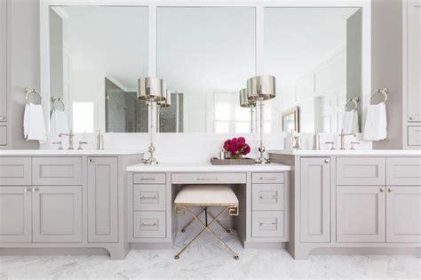 gray shaker makeup vanity  greek key stool