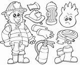 Coloring Firefighter Equipment Fire Safety Teaching sketch template