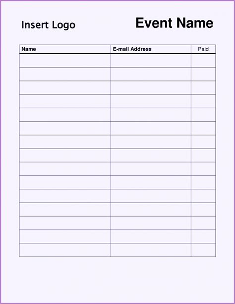 Sign Up Sheet Template Free Sign Up Sheet Template Word Excel