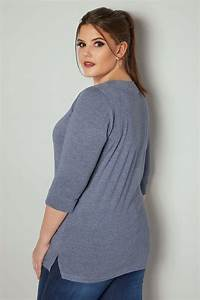 Blue Marl Band Scoop Neckline T-Shirt With 3/4 Sleeves ...