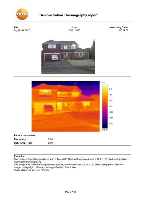 demonstration thermography report comparison