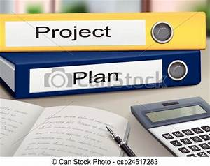Vector of project and plan binders isolated on the office ...