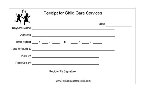 daycare tuition receipt template daycares can keep track of payment periods with this