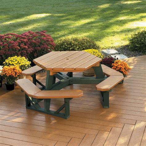 plastic composite picnic tables hex picnic table