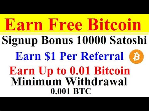 Earn bitcoin for every task that you complete, and receive payment within hours. Earn Free Bitcoin   Earn Up to 0.01 Bitcoin   Per Reffer 1$   Earn Money Online Bitcoin 2020 ...