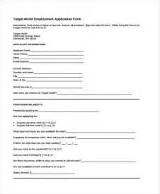 Target Job Application Form Printable