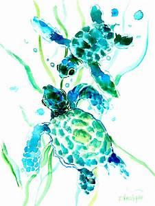 Turquoise Indigo Sea Turtles Painting by Suren Nersisyan