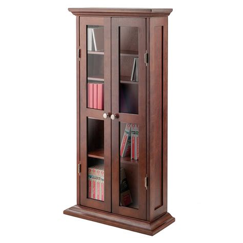 Leslie Dame Glass Door Tall Media Storage Cabinet Home