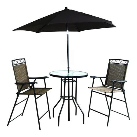 Umbrella And Table Set by Four Folding Bar Height Patio Set With Table And