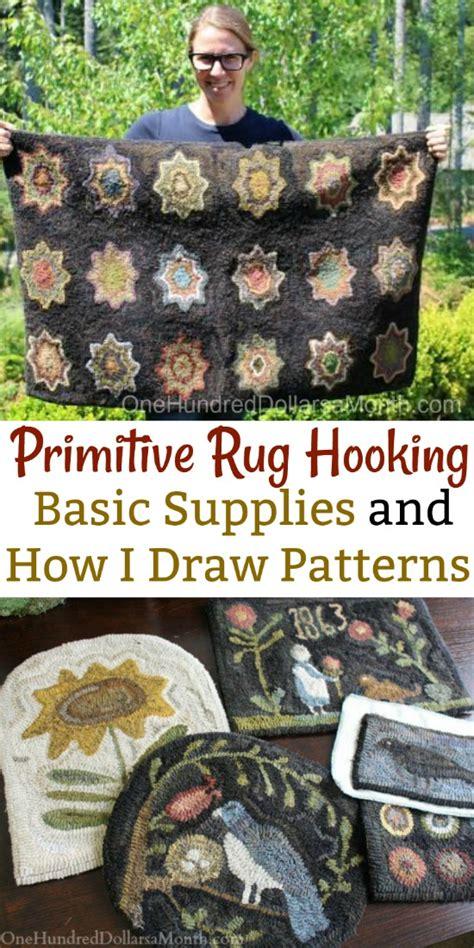 primitive rug hooking basic supplies    draw