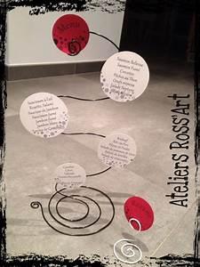 Fil Pour Accrocher Des Photos : menu mariage original fil aluminium bulle rouge noir et ~ Zukunftsfamilie.com Idées de Décoration