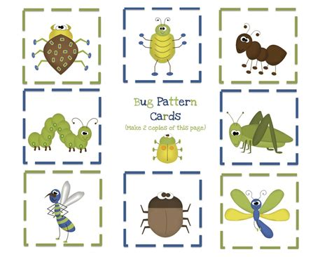 bug printables printable spider craft insect free 970 | Bug%20pattern%20cards