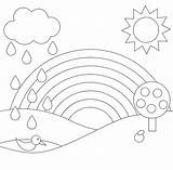 Rainbow Coloring Pages Scenery Cartoon Printable Tallennettu Taeaeltae sketch template