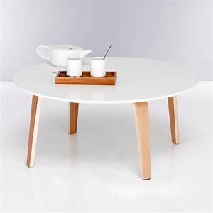 Table Basse 3 Pieds : table basse ronde bi mati re plateau blanc pieds naturels 3 suisses products pinterest ~ Teatrodelosmanantiales.com Idées de Décoration